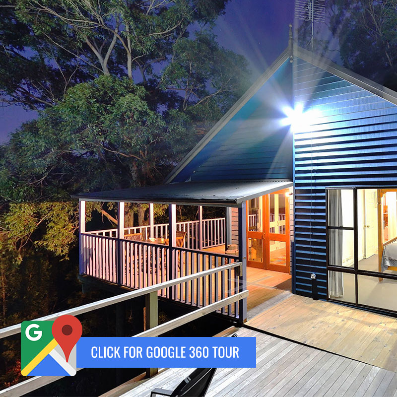"""Kirawa deck at dusk with """"Click for Google 360 tour"""" call to action"""