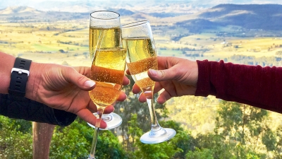 Champagne cheers overlooking the Hunter Valley